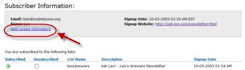 Aweber change email option