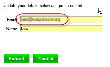 Aweber Email Entry form