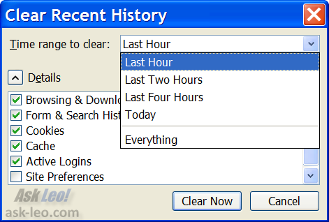 Firefox's Clear Recent History dialog