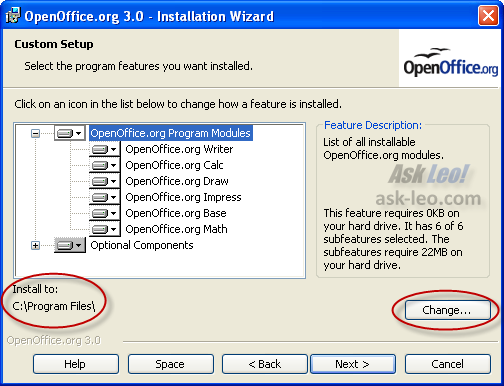 Open Office Custom Setup highlighting the Install To information