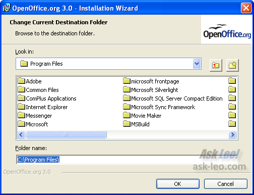Open Office Setup install location selector