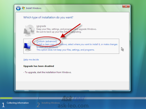 Windows Vista Setup - Custom Installation Choice