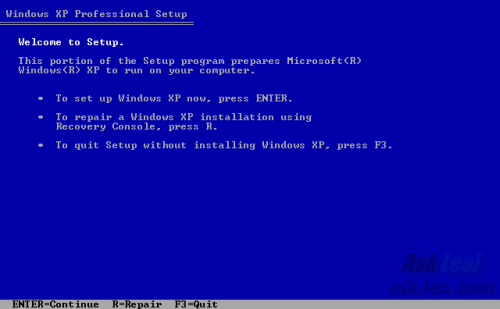 Windows XP Setup Welcome screen