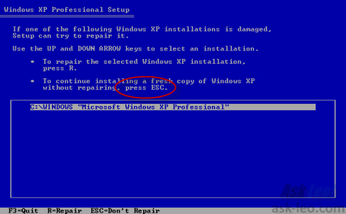 Windows XP Setup destination selection