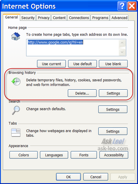 Internet Explorer Internet Options dialog highlighting the Browsing History options