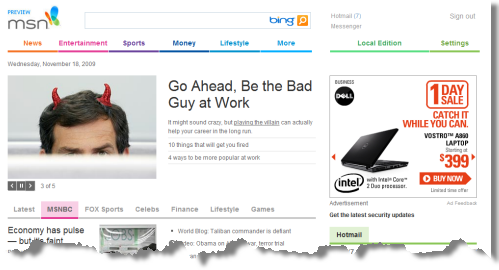 MSN Home Page, new version