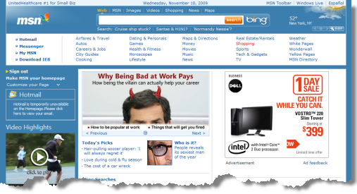 MSN Home Page, classic version