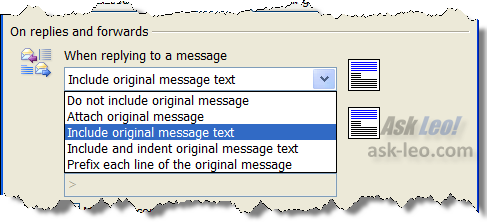 Outlook Email Options: when replying...