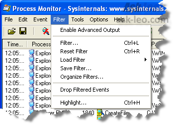 Process Monitor Filter menu