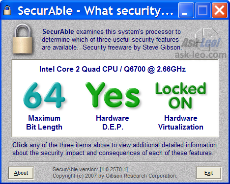 Securable results on my desktop