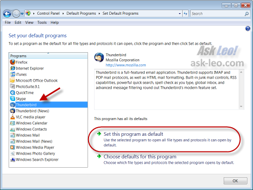 Set Default Program dialog in Vista