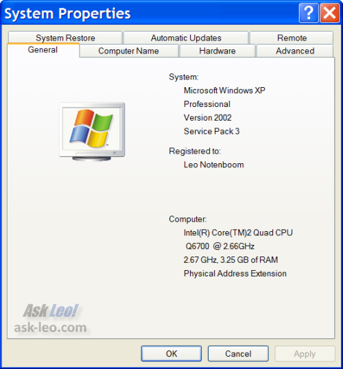 System Properties for my computer