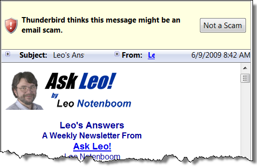 Thunderbird thinking Ask Leo! newsletter might be a scam.