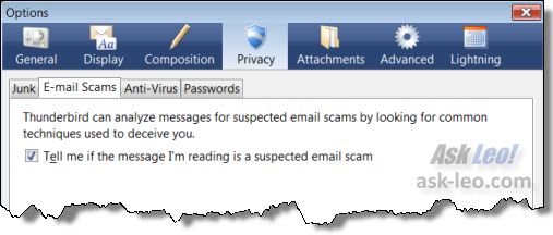 Thunderbird scam warning option.