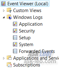 Windows Event Viewer, Log List