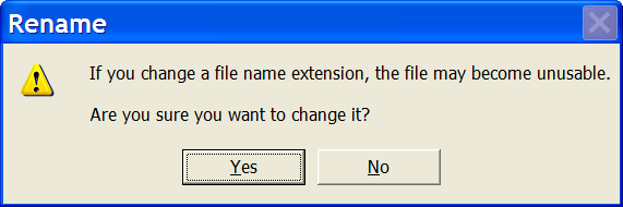 Windows Explorer File Rename Warning