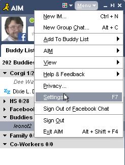 AOL menu menu