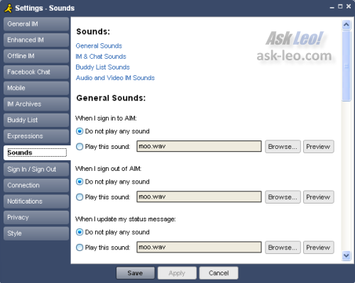 AIM Sounds Options