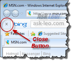 Bing toolbar close button