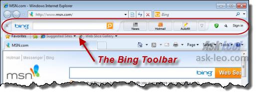 The Bing toolbar