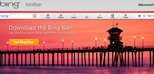 Downloading the Bing toolbar