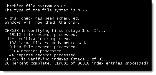 Chkdsk progress as it runs at reboot