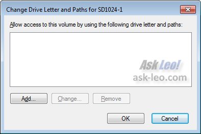 Change Drive Letter and Paths... dialog