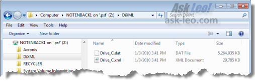 Backup files created by DriveImage XML