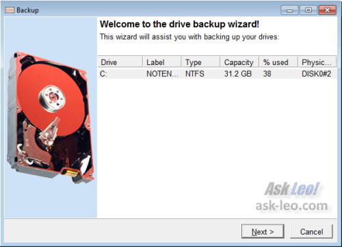 DriveImage XML Backup Wizard Start