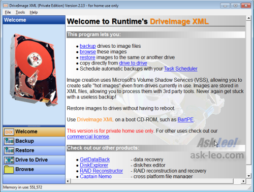 DriveImage XML Home Screen