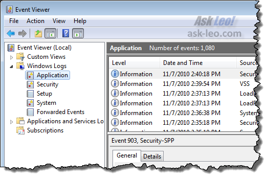 Windows Event Viewer: selecting the application log