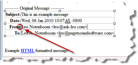 Email for forwarding with the delete-line X highlighted