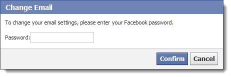 Facebook password confirmation when changing email