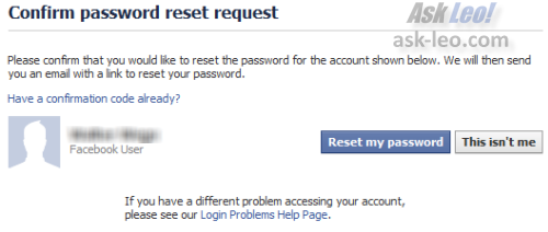 Facebook confirming your password reset request