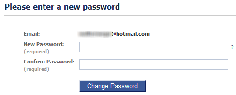 Facebook new password form