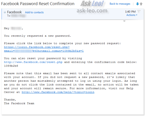 Facebook password reset confirmation email