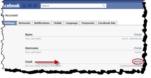 Change link for Facebook Email