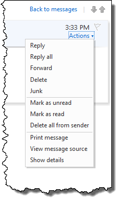 Hotmail message actions dropdown menu