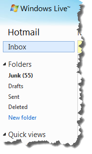 Hotmail's folder list on the left