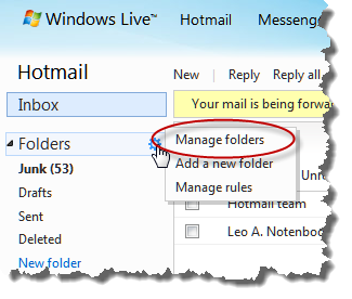 Hotmail's Manage Folders in a Popup menu