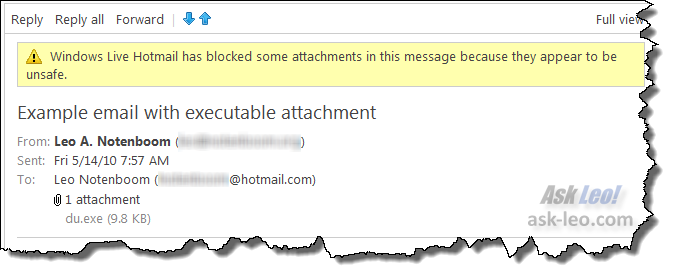 Windows Live Hotmail has blocked some attachments in this message because they appear to be unsafe.