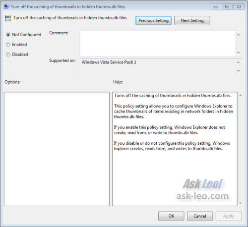 Windows 7 Local Group Policy Editor change setting dialog