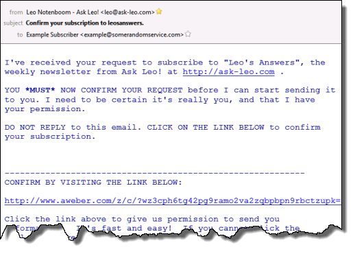 An example confirmation email