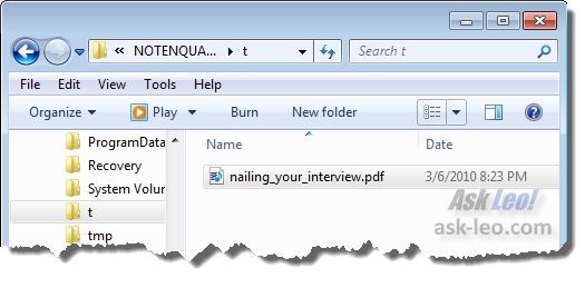 PDF file being displayed in Windows Explorer