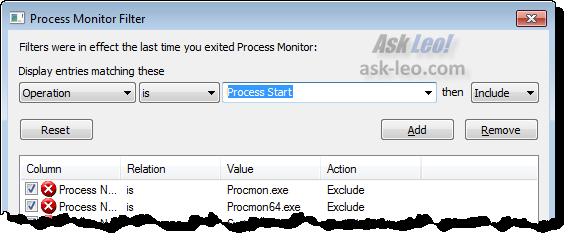 Process Monitor Process Start Filter