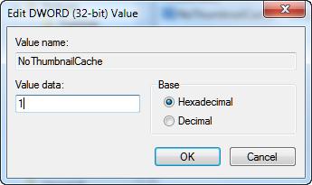 Regsitry Editor editting NoThumbnailCache