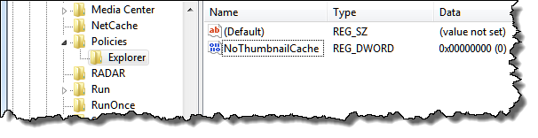 Registry Editor showing new NoThumbnailCache value