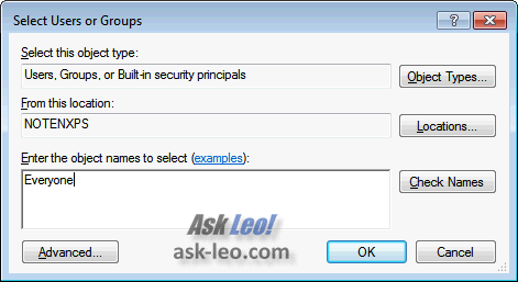 Select Users or Groups dialog for file permissions