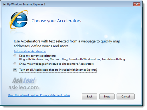 Setup Internet Explorer 8 - Choose Your Accelerators
