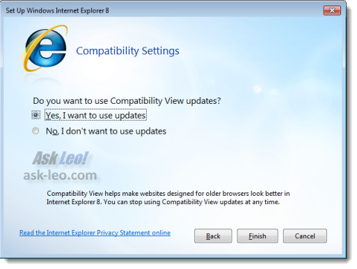 Setup Internet Explorer 8 - Compatibility View Updates